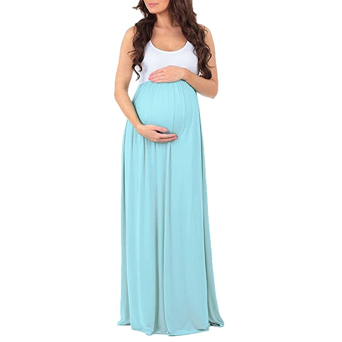 Fymnsi Women Maternity Color Block Tank Dress Ruched Sleeveless Long Maxi Dress Pregnant Photography Baby Shower Gown