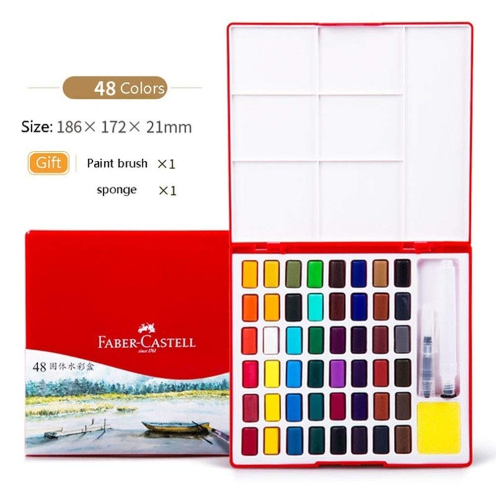 ALOHAAAAAA 1PCS, 24/36/48Colors Solid Watercolor Paint Professional Box with Paintbrush Portable Pigment for Painting Art by ALOHAAAAAA