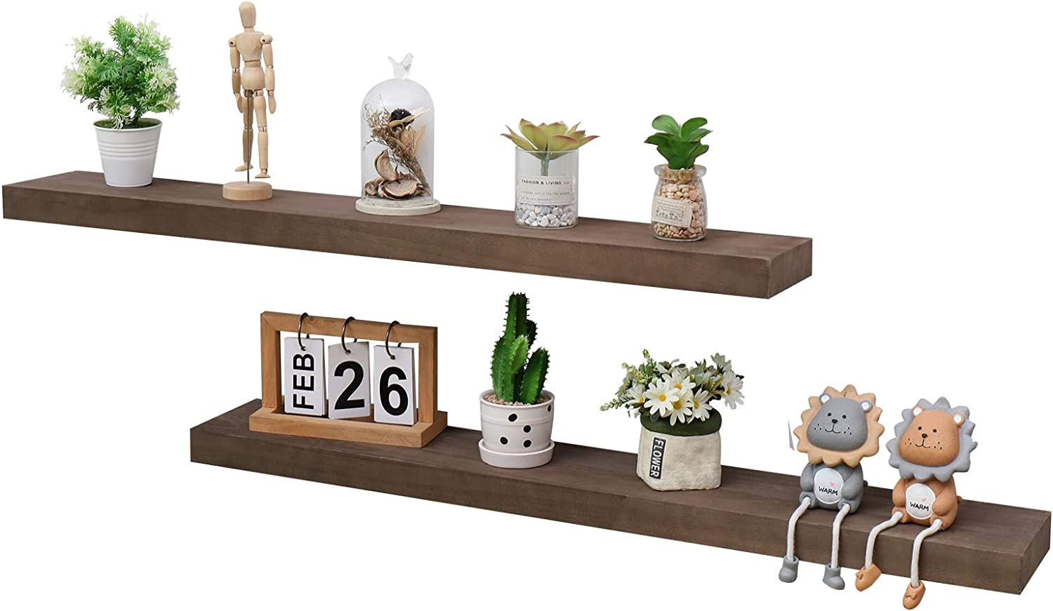 No/Brand Floating Wall Shelf, Farmhouse Decorative 2 Tier Torched Wood Industrial Wood Wall Mounted Shelves, Heavy Duty Wooden Shelf with Brackets for Bathroom,Kitchen, Office.(24 Inches Dark Walnut)