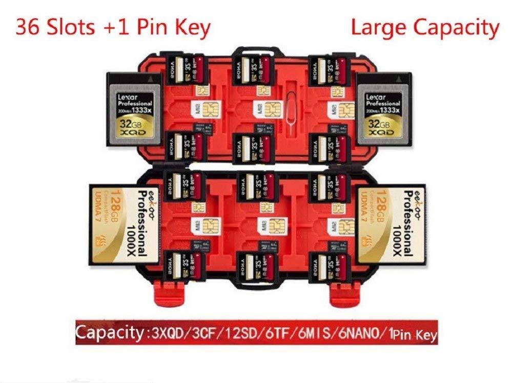 Custodia Protettiva per 12 SD e 3 CF e 3 XQD e 6 MSD e 6 Mis e 6 Nano Card Custodia per schede SD DUBENS 36 Slot per schede di Memoria Impermeabile