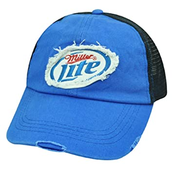 Miller Lite cerveza menos relleno de malla gorra azul blanco negro ...