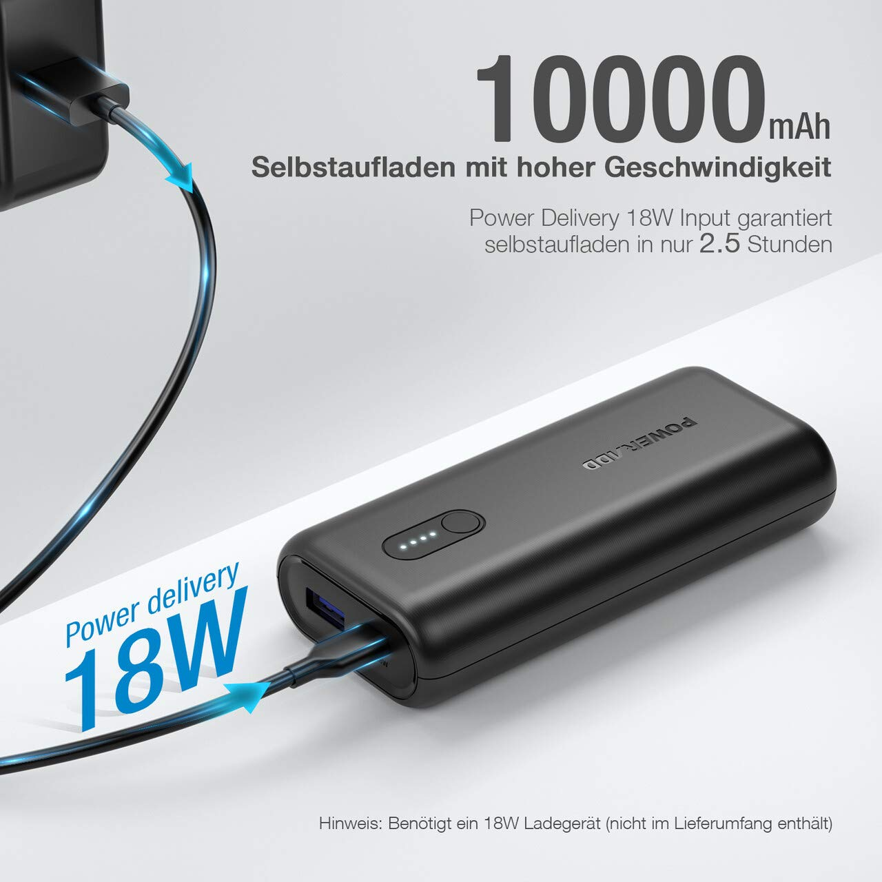 POWERADD EnergyCell 10000mAh Powerbank mit Power Delivery: schnelles Laden für iPhone Samsung Huawei ipad klein und tragbar