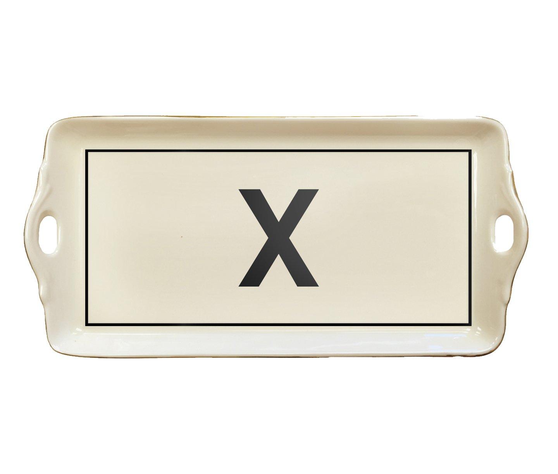 McLaughlin Glazeware Pickard China Initial Tray - Custom Letter - Black (X)