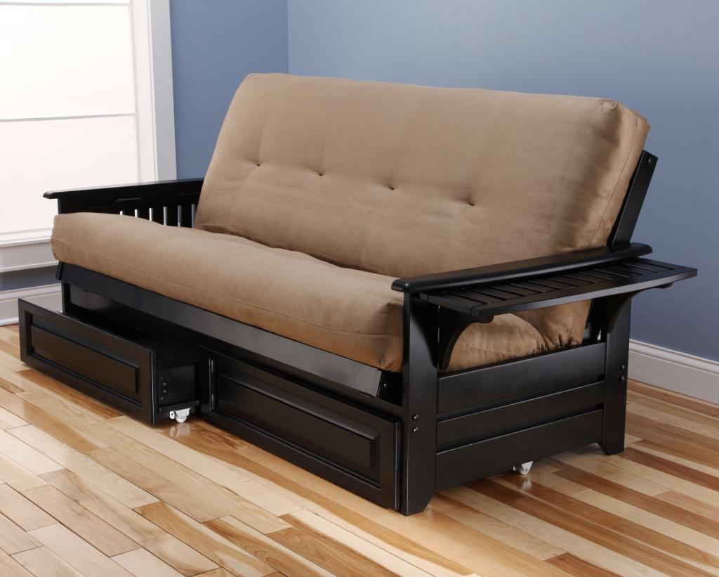 amazon    phoenix futon frame in black wood with innerspring suede black mattress  u0026 drawer set  kitchen  u0026 dining amazon    phoenix futon frame in black wood with innerspring      rh   amazon