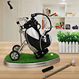 World 9.99 Mall Golf Pen Gift Mini Office Golf Pen Holder with 3 Sets Aluminum Alloy Golf Pens Golf Souvenir Tour Novelty Gift|A For Father Golf Fans Boyfriend Boy Men Coworker
