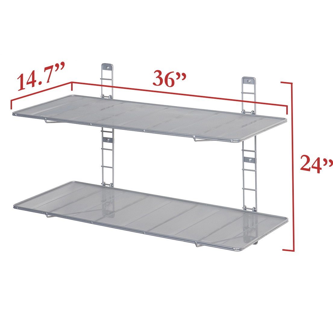 Seville Classics 2-Tier Iron Mesh Adjustable Floating Wall Shelves, 36'' x 14'', Satin Pewter by Seville Classics (Image #2)