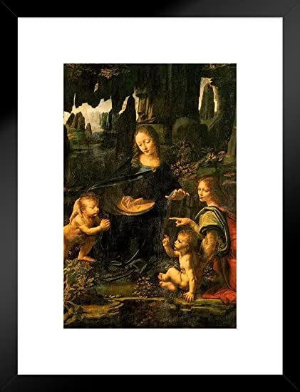 Amazon Com Poster Foundry Leonardo Da Vinci Madonna Virgin Of The Rocks 1483 Oil On Panel Matted Framed Wall Art Print 20x26 Posters Prints