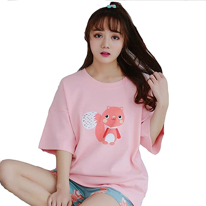 1ad4763fd6 ZWT Gils Big Girls Cute Squirrel Shorts Pajamas Set Summer Casual Sleepwear   Amazon.ca  Clothing   Accessories
