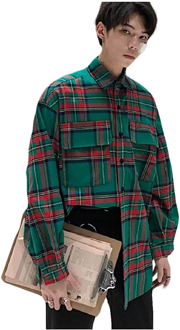 Coolred-Men Utility Pocket Loose Contrast Plaid Big and Tall Woven Shirt