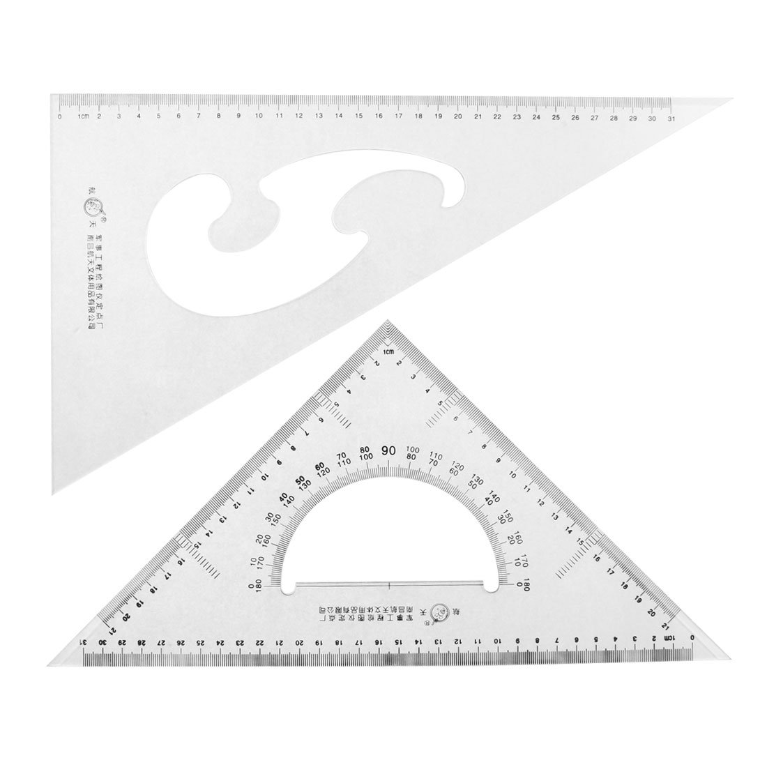 Uxcell School Office 30/60 45 Degree Measure Triangle Rulers Protractor, 2 Pieces (a15091100ux0127)
