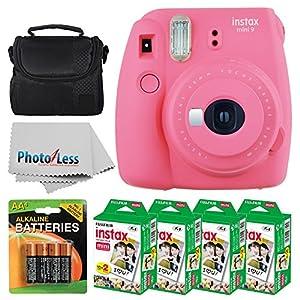 Fujifilm instax mini 9 Instant Film Camera (Flamingo Pink) + Fujifilm Instax Mini Twin Pack Instant Film (80 Shots) + Camera Case + AA Batteries + Accessories - International Version (No Warranty)
