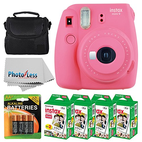 Fujifilm instax mini 9 Instant Film Camera (Flamingo Pink) + Fujifilm Instax Mini Twin Pack Instant Film (80 Shots) + Camera Case + AA Batteries + Accessories - International Version (No Warranty) by PHOTO4LESS