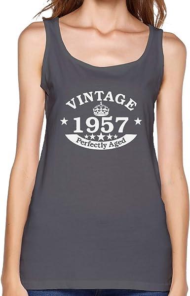 Camiseta sin Mangas de algodón para Mujer, Estilo Vintage, 1957, Color Brezo Oscuro Envejecido Negro Deep Heather S: Amazon.es: Ropa y accesorios