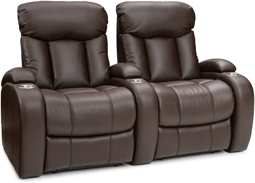 Seatcraft Sausalito Leather Home Theater Seating Chairs Manual Recline – Row of 2, Brown