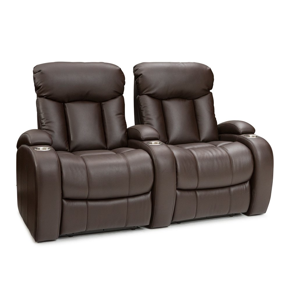 Seatcraft Sausalito Home Theater Seating Manual Recline Leather Gel (Row of 2, Brown)