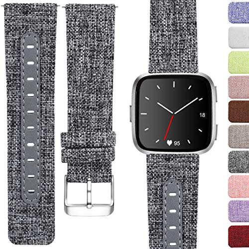 Maledan Replacement Bands for Fitbit Versa Women Men Large Small, Woven Fabric & Genuine Leather Breathable Accessories Strap Band for Fitbit Versa Smart Watch