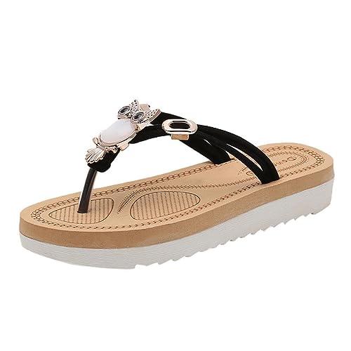 5704bb9e9379c3 Ansenesna Sandalen Damen Sommer Flach Offen Zehentrenner Boho Schuhe  Metallic Strand Slipper (35