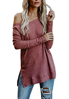 Womens Off Shoulder Sweater Roundneck Long Sleeve Knit Sweater Pullover Tops  with Slit 84c407571