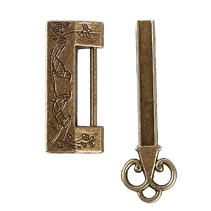 Retro Vintage Chinese Old Style Antique Carved Bird Mini Padlock Locks Key