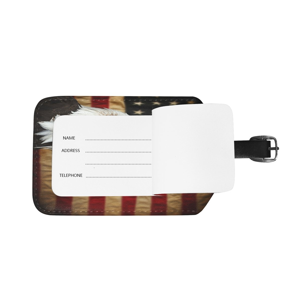 Saobao Travel Luggage Tag Bald Eagle With American Flag PU Leather Baggage Suitcase Travel ID Bag Tag 1Pcs
