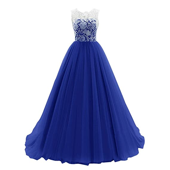IBTOM CASTLE Womens Sleeveless Lace Long Tulle Prom Dresses Evening Party Formal Ball Gowns Deep Blue