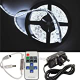 JnDee™ Full Kit Cool White 5 Metres DIMMABLE LED Strip Tape +Transformer/Power Supply + RF Wireless Dimmer Flasher with Remote Control