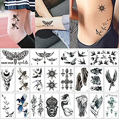 20 Sheets Fake Black Wing Design Temporary Tattoo Sticker Animal Tiny Body Decal