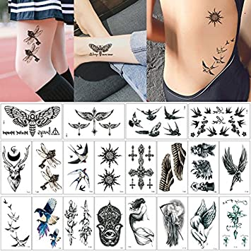 5c4b8efd6c5 Amazon.com : 20 Sheets Fake Black Wing Design Temporary Tattoo ...
