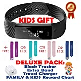 Fitness tracker for Kids, Women, Men   Smart Watch with 2 Wrist Bands for Apple Android   Pedometer Activity Tracker Step Counter Sleep Monitor Gift Set: USB Charger Reward Chart Bands - Black + Blue