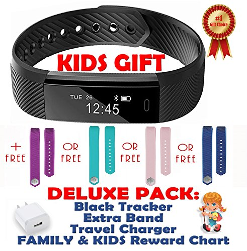 Kids Fitness Tracker Activity Tracker for Kids - Waterproof Smart Watches for Girls Boys Digital Kids Alarm Monitor Pedometer Walking Sleep Activity Step Counter Smart Phone - 2 Bands Blue Gifts Set