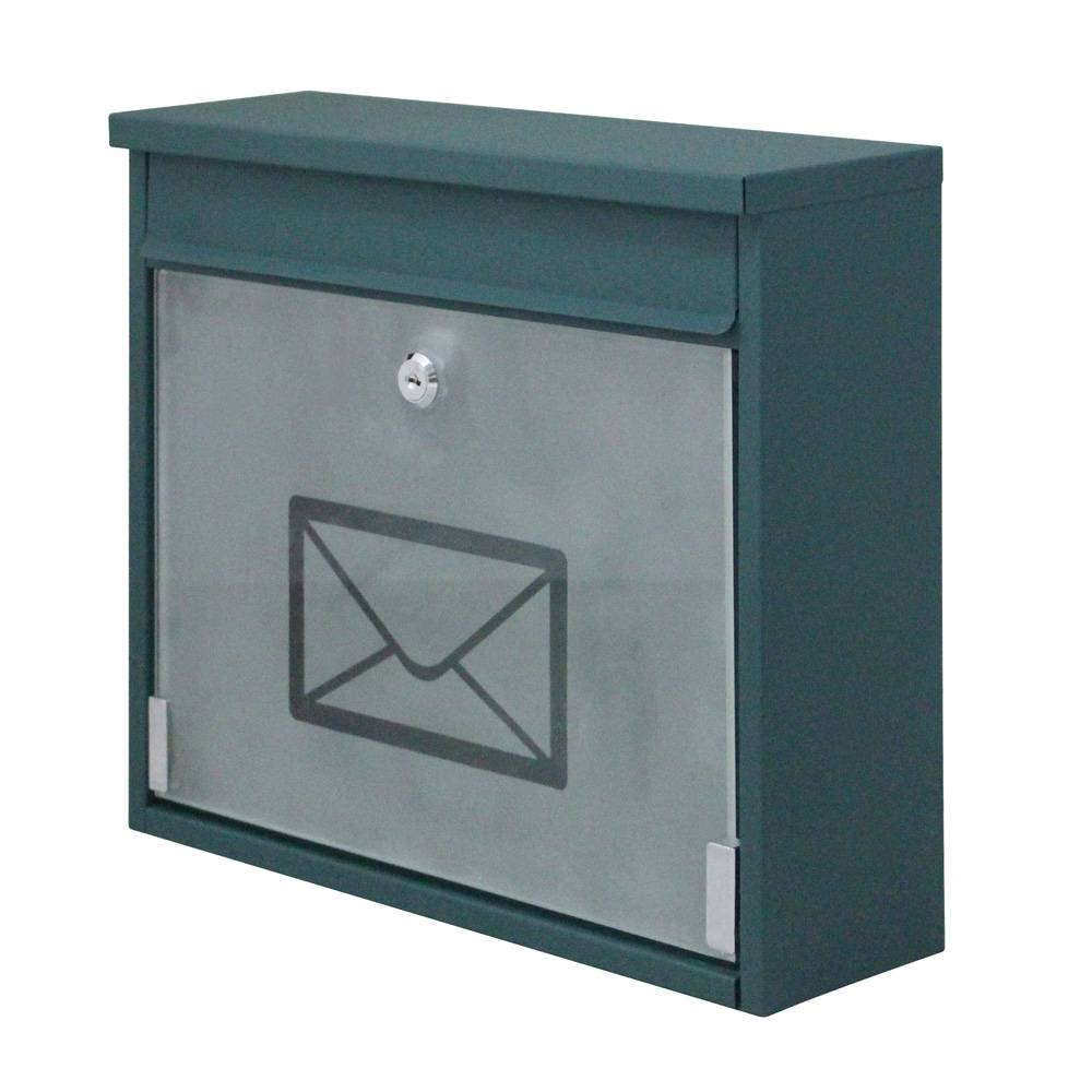 Xhope Iron Mailbox Letter Box Wall Mounted Mail Box Post Box Secure Letterbox with Lock & 2pcs Keys Green