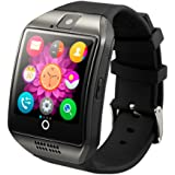 SHFY Smart Watch Q18 Bluetooth Touchscreen with Camera Pedometer Support TF/SIM Card Slot Wearable Equipment Compatible iOS iPhone Samsung Android Phones for Men Women Boys and Girls (Black)