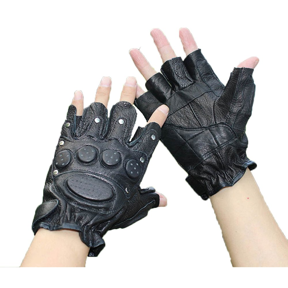 K-mover Black Leather Fingerless Motorcycle Bike Gloves Half finger Street Dance Gloves Tactical Gloves (One Size)