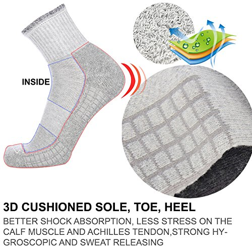 Zisuper Men's 6 Pack Athletic Crew Socks Breathable Performance Cushion Sports Running High Ankle Workout Socks for Men by Zisuper (Image #1)