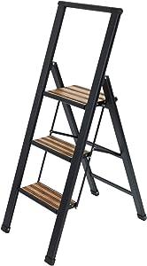 Wenko Lightweight Aluminium Step Ladder with 3 Steps for 75 cm Higher Stand, Non-Slip XXL Steps, Design Folding Ladder with 44 x 127 x 5.5 cm in Black, TÜV Süd Certified