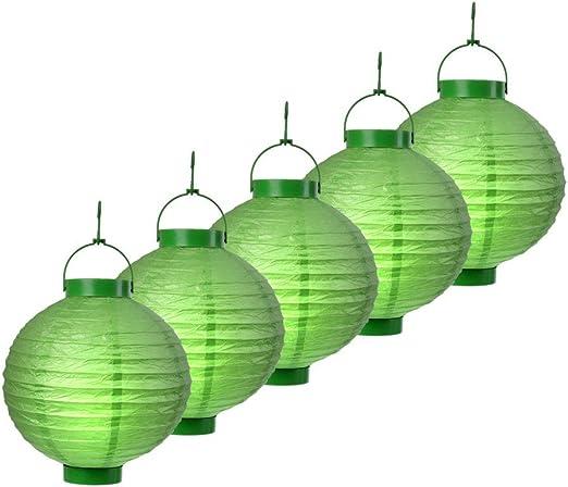 S/o® 5 unidades LED farolillos verde Farol farolillo Jardín Balcón Terraza Fiesta iluminación decoración: Amazon.es: Jardín