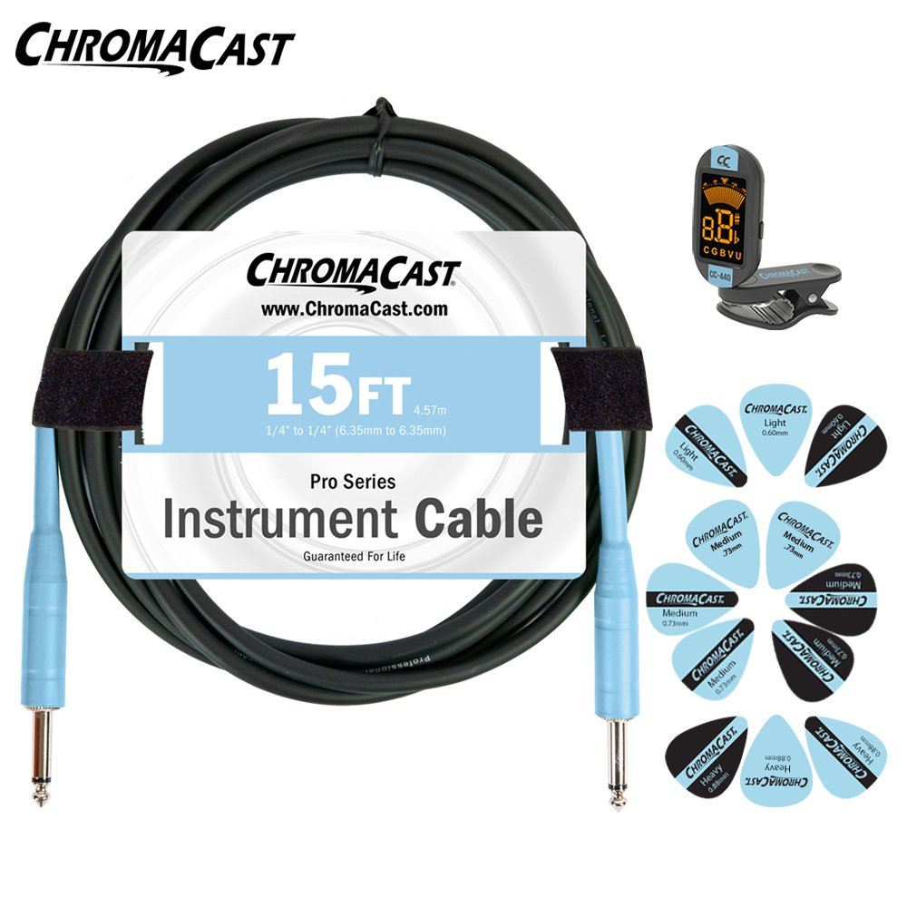 ChromaCast CC-PSCBLSS-APDBL Daphne Blue Guitar Accessory Pack with 15-Feet Cable, Tuner and Pick Sampler