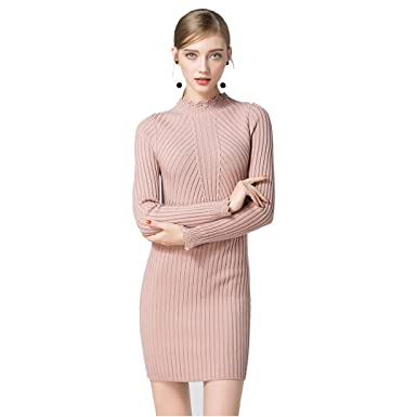 0ac36fc472f7 Cheng Xiang Women s Knitting Sexy Casual Long Sleeve Short Dress Autumn and  Winter New Thick Sweater