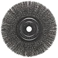 "Weiler Trulock Narrow Face Wire Wheel Brush, Round Hole, Steel, Crimped Wire, 8"" Diameter, 0.014"" Wire Diameter, 3/4"" Arbor, 2-1/16"" Bristle Length, 3/4"" Brush Face Width, 6000 rpm"