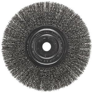 "Weiler Trulock Narrow Face Wire Wheel Brush, Round Hole, Steel, Crimped Wire, 8"" Diameter, 0.014"" Wire Diameter, 3/4"" Arbor, 2-1/16"" Bristle Length, 3/4"" Brush Face Width, 6000 rpm"
