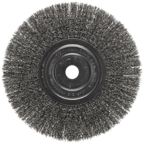 Weiler Trulock Narrow Face Wire Wheel Brush, Round Hole, Steel, Crimped Wire, 8