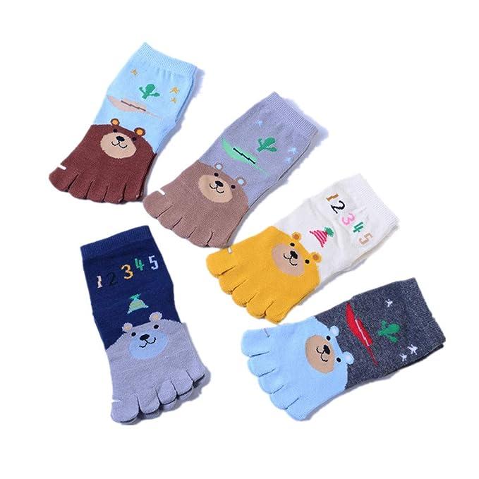 Stillshine Calcetines de dibujos animados de cinco dedos, Paquete de 5 calcetines de algodón suave
