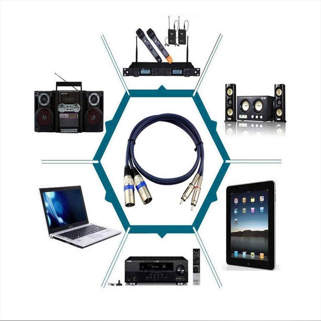 Cable Macho Dual XLR a RCA Macho Conector de Cable de Audio Mezclador de Cable de micr/ófono 5 m Azul Oscuro /… 2 XLR a 2 RCA//Phono Plug HiFi Cable de Audio est/éreo