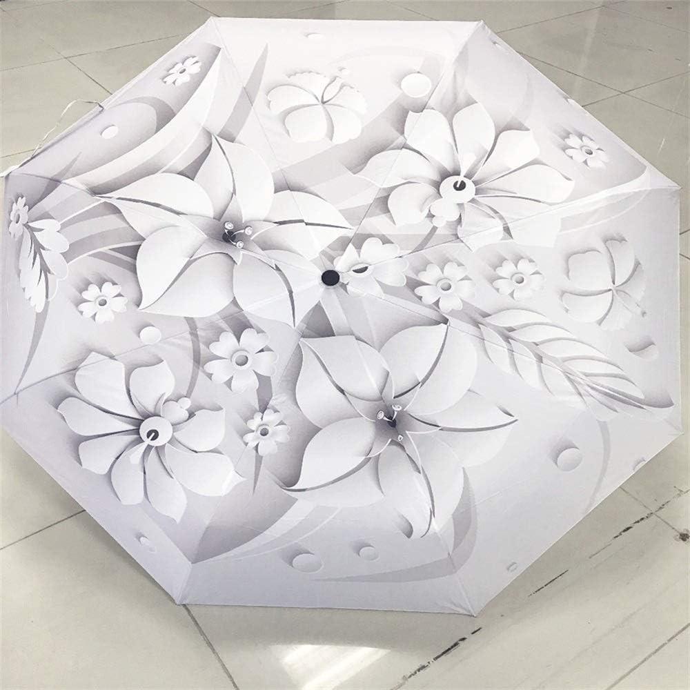 Color : Item7 XIANGNAIZUI Full Automatic 3D Floral White Chinese Sun Umbrella 3 Folding Umbrella Rain Women Anti UV Outdoor Travel