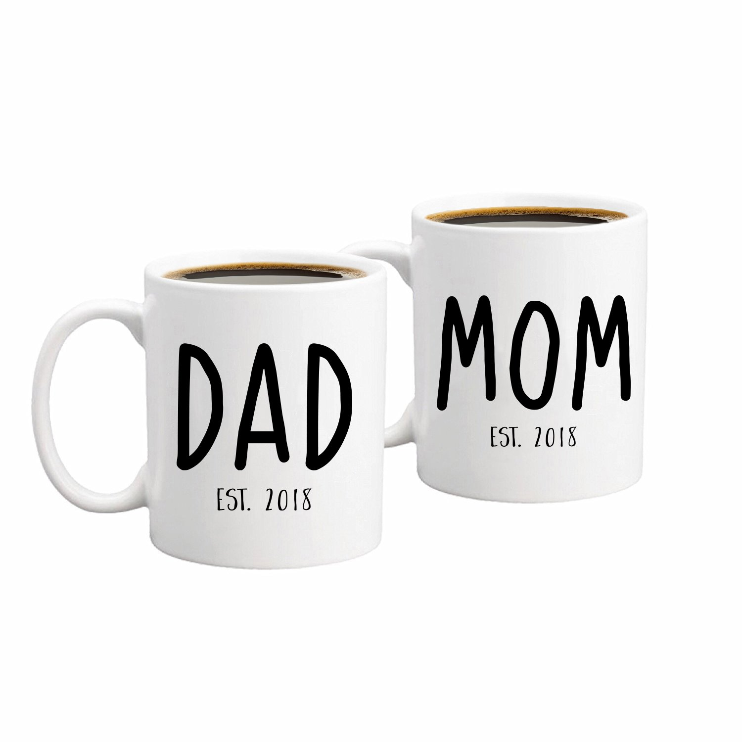 New Parents Pregnancy 2018 Announcement Coffee Mug Set 11oz - Unique Christmas Gift For Parents To Be - Perfect Present For Baby Showers - Mom and Dad Gift