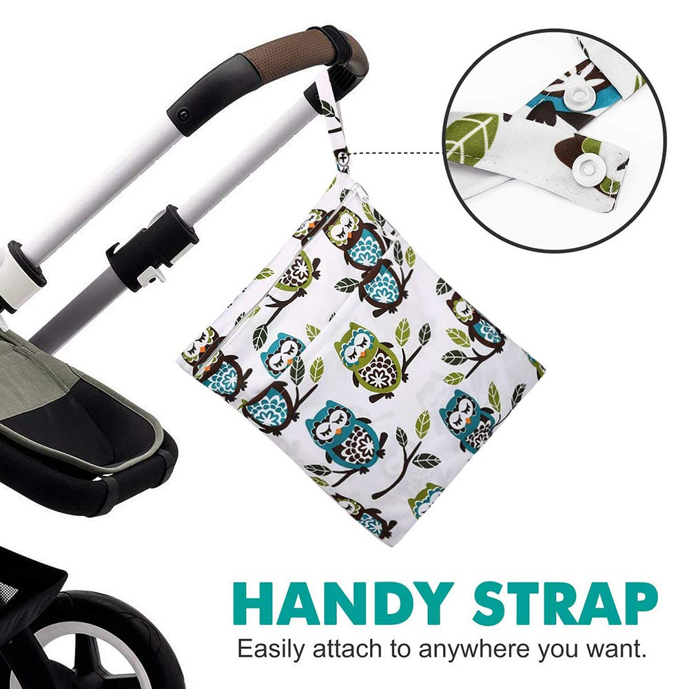 Soiled Baby Items Gym Betoores 2Pcs Wet Dry Bag Cloth Diaper Bags Reusable with Two Zippered Pockets Diaper Bag for Travel Swimsuits Giraffe and Owls