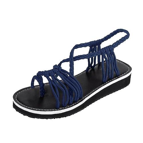 low priced low priced classic fit Sandales Plates Tressée,Kinlene Été Bohême Chaussures Bout ...