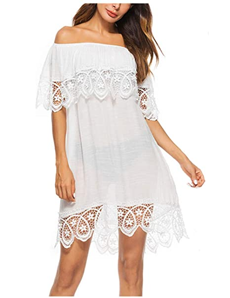 e0cd91d17d7e8 AOFITEE Women's Off Shoulder Beach Bikini Cover Up Swimsuit, Lace Floral  Swimwear Hollow Out Dress White at Amazon Women's Clothing store: