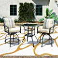 Patio Festival 3 Pcs Outdoor Height Bistro Chairs Set Patio Swivel Bar Stools with 2 Yard Armrest Chairs and 1 Glass Top Table,All Weather Steel Frame Furniture