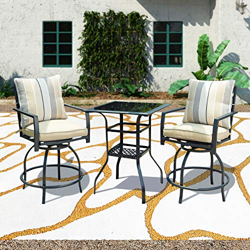 Patio Festival 3 Pcs Outdoor Height Bistro Chairs Set Patio Swivel Bar Stools with 2 Yard Armrest Chairs and 1 Glass Top Table,All Weather Steel Frame Furniture (Chairs&Table Set)